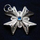 maltese-cross-filigree-pendant-sterling-silver-2-5cm-sapphire-blue