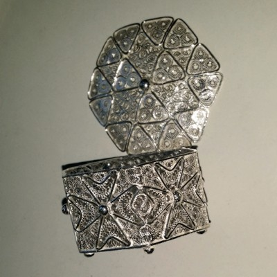 Sterling Silver filigree trinket box Maltese Cross