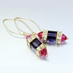 Swarovski crystal flora fauna Lantern designs fuchsia earrings