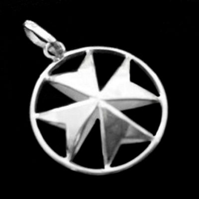 Maltese Cross Sterling Silver pendant double sided 23mm