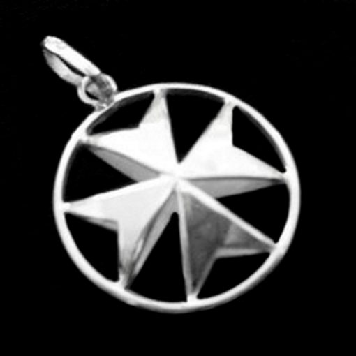 Maltese Cross double sided Sterling Silver pendant 23mm