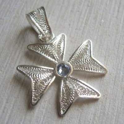 Maltese Cross filigree bail pendant Sterling Silver 2cm light Blue