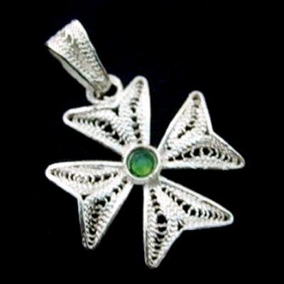Maltese Cross filigree bail pendant Sterling Silver 2cm Green