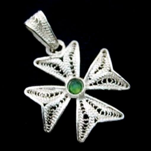Maltese Cross filigree bail pendant Sterling Silver 2cm Green