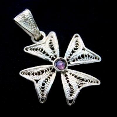 Maltese Cross filigree pendant Sterling Silver 2cm Purple