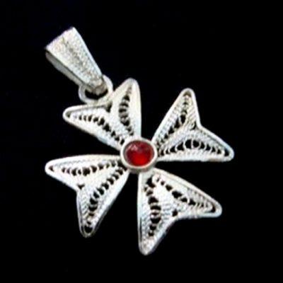 Maltese Cross filigree bail pendant Sterling Silver 2cm Red
