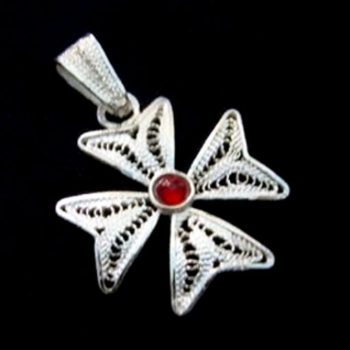 Maltese Cross filigree bail pendant Sterling Silver 2cm Red
