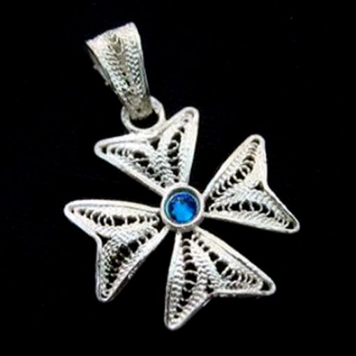 Maltese Cross filigree bail pendant Sterling Silver 2cm dark Blue