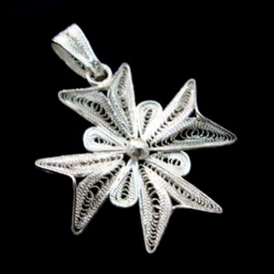 Maltese Cross filigree bail pendant Sterling Silver 3cm