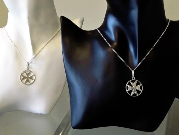 Maltese cross double sided sterling silver pendant 23mm maltese cross pendants large 23mm 600px aloadofball Gallery