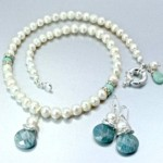 pearl necklace and earrings set with Aquamarine