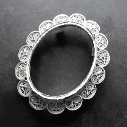 Sterling Silver filigree Cameo pendant or brooch frames