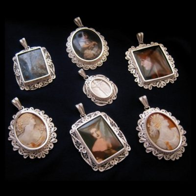 Sterling Silver filigree Cameo pendants