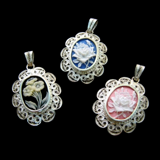 Sterling silver filigree cameo pendant or brooch frames sterling silver filigree pendant cameo flowers aloadofball Image collections