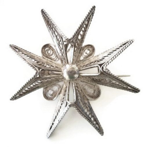 Sterling Silver filigree Maltese Cross brooch pendant 4.5cm Vintage 1940's