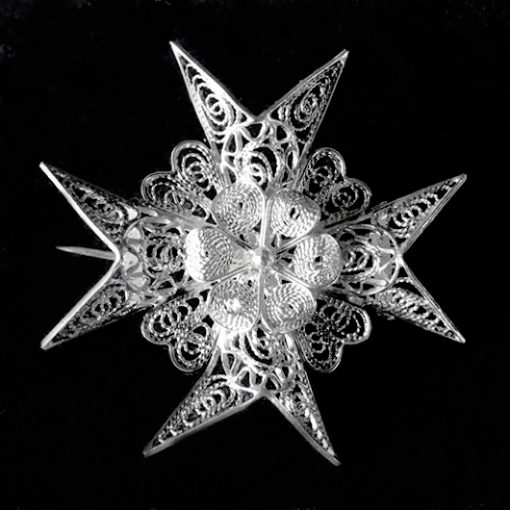 Sterling Silver filigree Maltese Cross brooch 4cm Vintage 1960's