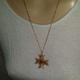 18ct-gold-filigree-maltese-cross-pendant-brooch-Figaro-chain-diamond-cut