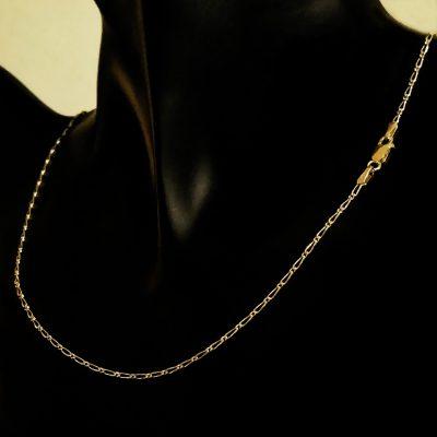 9ct Gold chain 11 Figaro diamond cut Italy