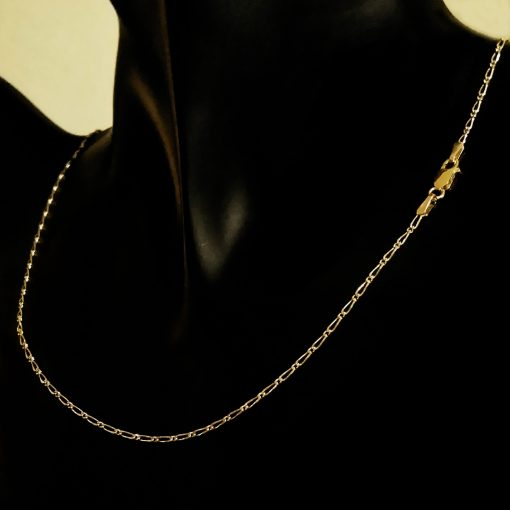 9ct Gold chain 11 Figaro diamond cut Italy