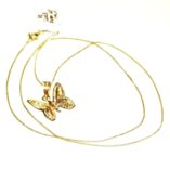 9ct-yellow-white-rose-tri-gold-butterfly-pendant-Curb-chain