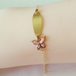 9ct-gold-ID-bracelet-butterfly-pink