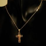 9ct-gold-chain-11-figaro-diamond-cut-italy-crucifix-pendant
