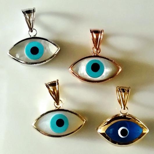 9ct Yellow Gold Evil Eye Pendant Murano Glass