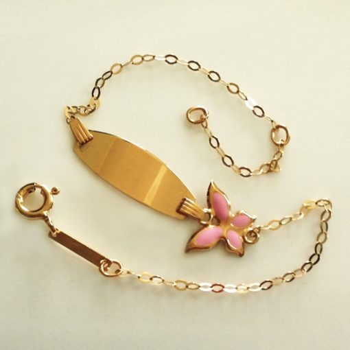 9ct Gold ID bracelet Butterfly pink