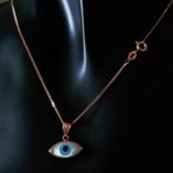 9ct-rose-gold-curb-chain-Italy-lucky-evil-eye-pendant-Mother-of-Pearl