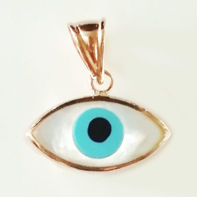 9ct rose Gold lucky evil eye pendant Mother of Pearl