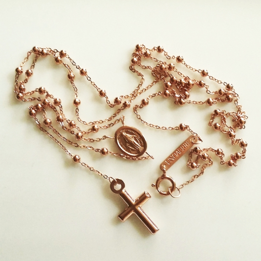9ct Rose Gold Rosary Beads Necklace Italy