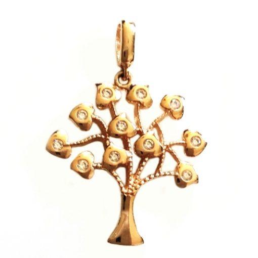 9ct rose Gold Tree of Life pendant zirconia