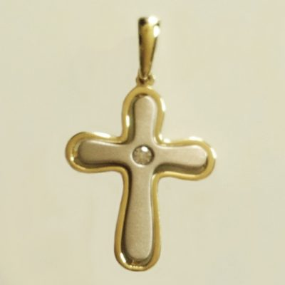 9ct Cross pendant White and Yellow Gold