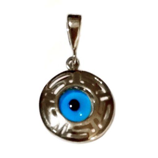 9ct white Gold evil eye pendant Greek Keys