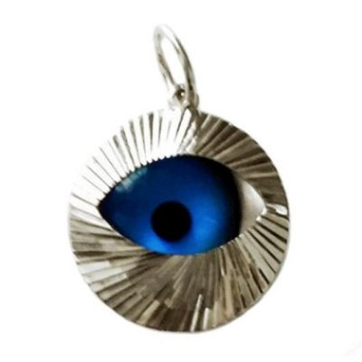 9ct white Gold Evil Eye Pendant diamond cut 15mm