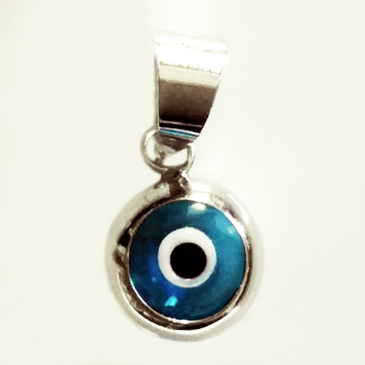 9ct white gold double sided evil eye charm 8mm made in europe 9ct white gold double sided evil eye charm aloadofball Gallery