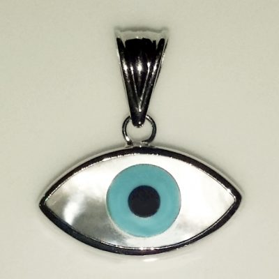 9ct white Gold lucky evil eye pendant Mother of Pearl