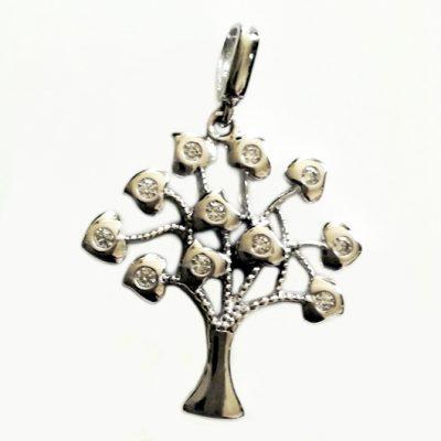9ct white Gold Tree of Life pendant zirconia