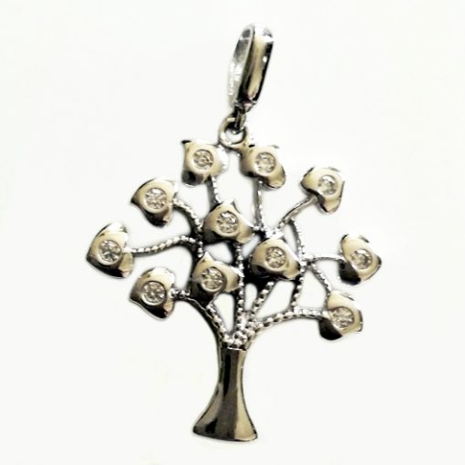 9ct white Gold Tree of Life pendant zirconia