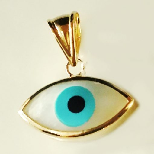 9ct yellow Gold lucky evil eye pendant Mother Pearl