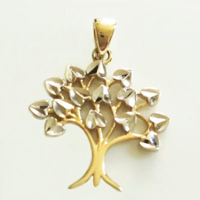 9ct yellow white Gold Tree of Life pendant diamond cut