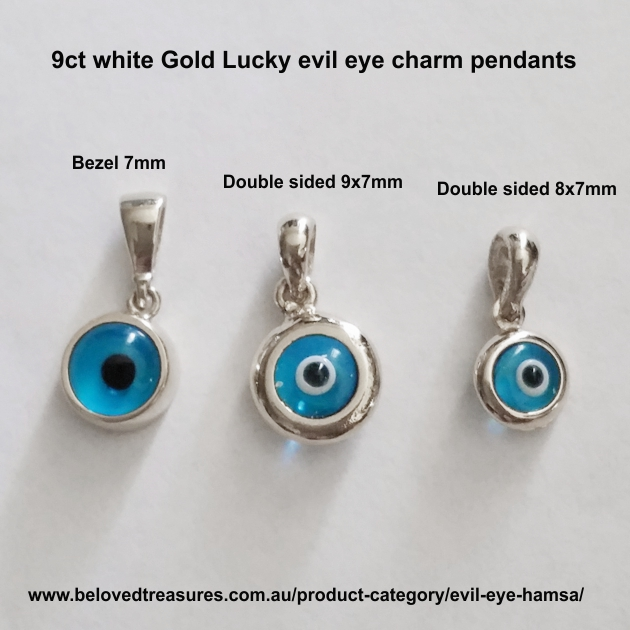 9ct white gold double sided evil eye charm 8mm made in europe 9ct white gold double sided evil eye charms aloadofball Gallery