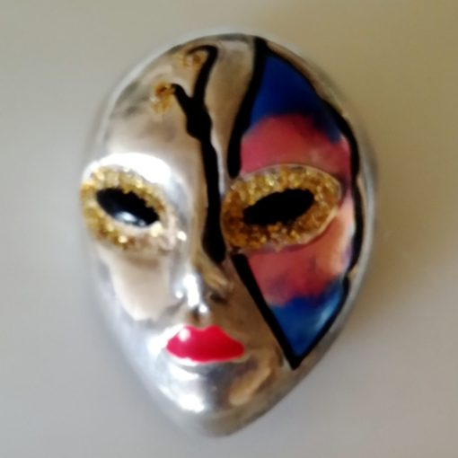 Sorini Sterling Silver hand painted Mask brooch