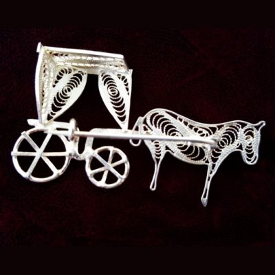 Sterling Silver filigree brooch Karrozin