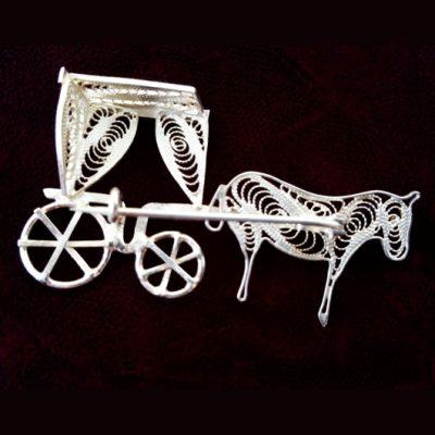 Sterling Silver filigree brooch Karrozin
