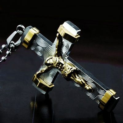 Stainless Steel Crucifix 22ct gold plated Jesus