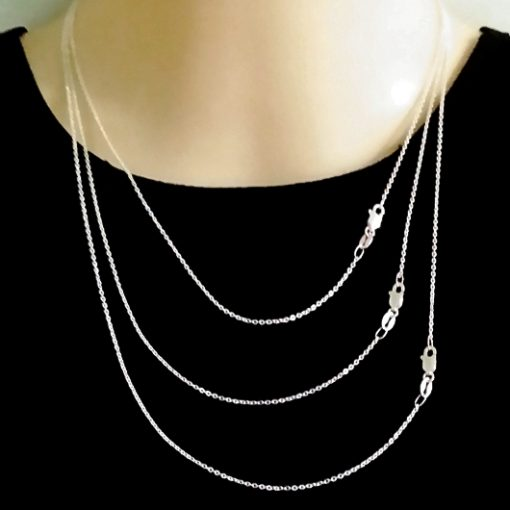Chain Sterling Silver hammered trace diamond cut