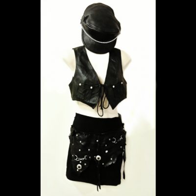 Leather hat top skirt Vintage clothing 3 piece outfit