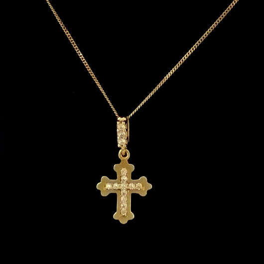 9ct gold orthodox cross pendant zirconia made in europe 9ct gold orthodox cross pendant zirconia aloadofball Image collections