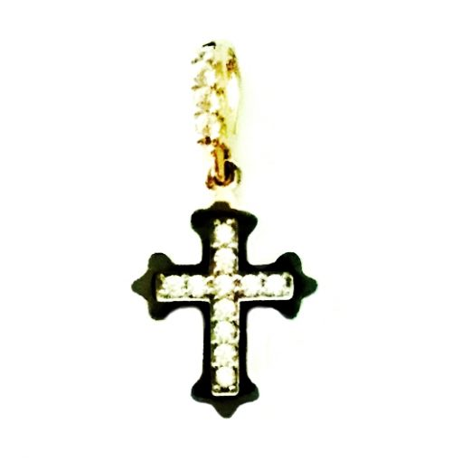 9ct Gold Orthodox Cross pendant zirconia